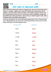 Past tense of irregular verbs