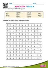 Word Search with letter n