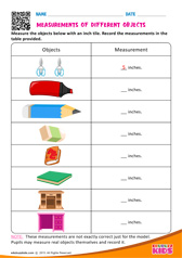 Measurments of Different Objects