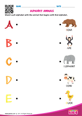 Match Alphabet Animals a to e