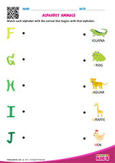 Match Alphabet Animals f to j
