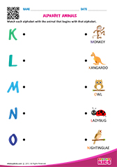 Match Alphabet Animals k to o