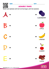 Match Alphabet Fruits a to e