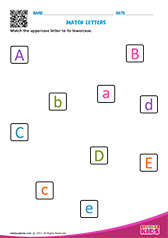 Match upper and lowercase letters a to e