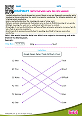 English Vocabulary Worksheets Grade-1