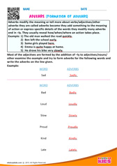 Formation of adverbs