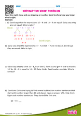 Math story use number bond