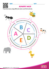 Alphabet Animals Maze a to e