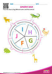 Alphabet Animals Maze f to j
