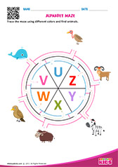 Alphabet Animals Maze u to z