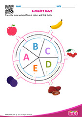 Alphabet Fruits Maze a to e