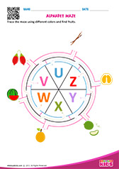 Alphabet Fruits Maze u to z