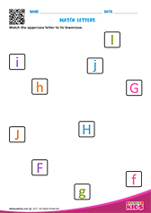 Match upper and lowercase letters f to j